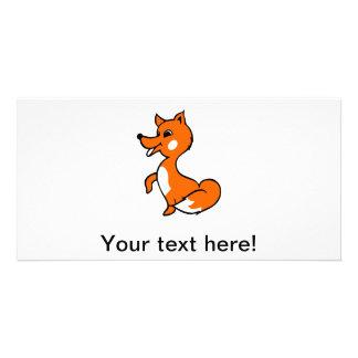 Fox cartoon customized photo card
