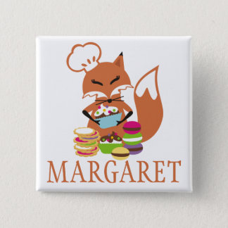 Fox chef baker cookies cupcakes name tag 15 cm square badge