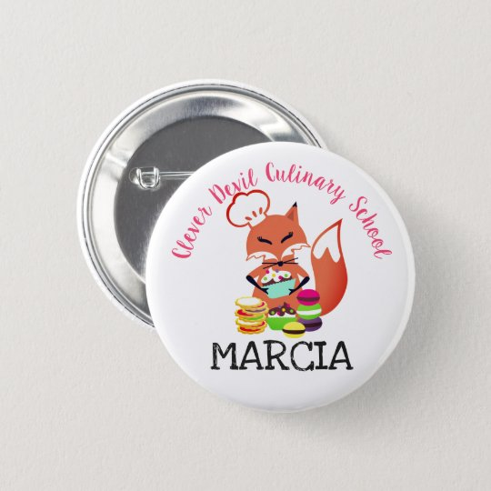 Fox chef baker cookies cupcakes name tag 6 cm round badge
