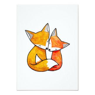 Fox Couple Wedding Invitation Cute Woodland Foxes