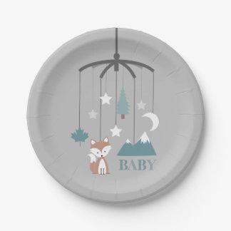 Fox Crib Mobile Modern Blue Baby Shower Paper Plate