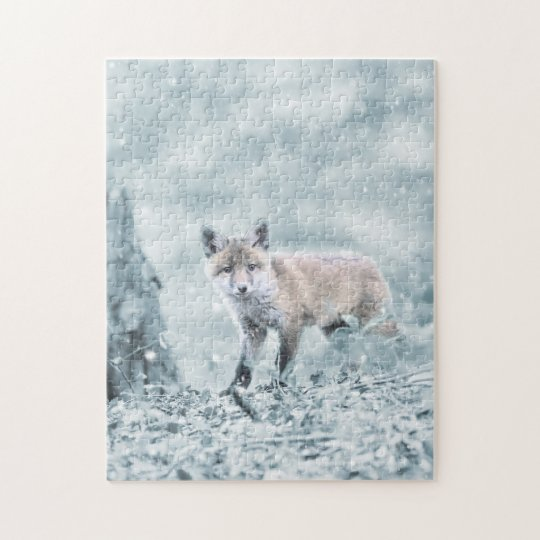 Fox Cub in the Snow Jigsaw Puzzle