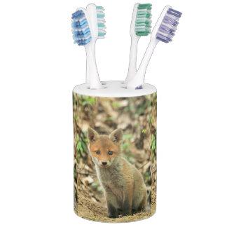 fox cub toothbrush holder & soap dispenser