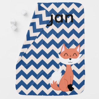 Fox Custom Chevron Baby Blanket