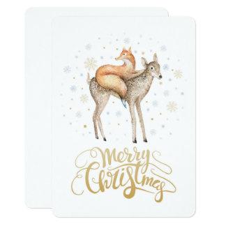 Fox Deer Winter Snow Merry Christmas Card