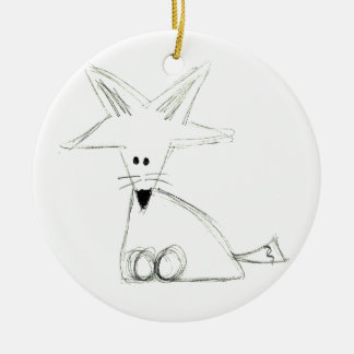 fox doodle black white gray simple kids drawing ceramic ornament