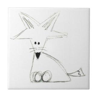 fox doodle black white gray simple kids drawing ceramic tile