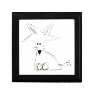 fox doodle black white gray simple kids drawing gift box