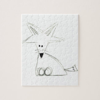 fox doodle black white gray simple kids drawing jigsaw puzzle