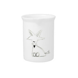 fox doodle black white gray simple kids drawing pitcher