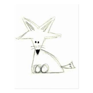fox doodle black white gray simple kids drawing postcard