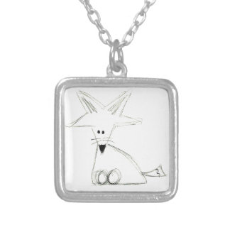 fox doodle black white gray simple kids drawing silver plated necklace