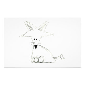 fox doodle black white gray simple kids drawing stationery
