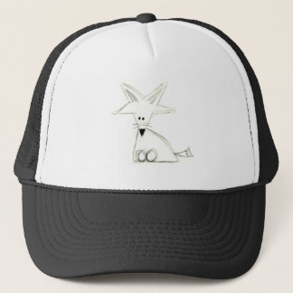 fox doodle black white gray simple kids drawing trucker hat
