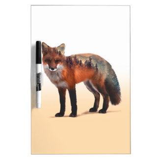 Fox double exposure - fox art - red fox - wildfox dry erase board