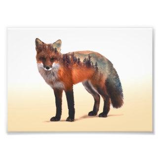 Fox double exposure - fox art - red fox - wildfox photo print