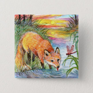 Fox Drinking by Riverside 15 Cm Square Badge
