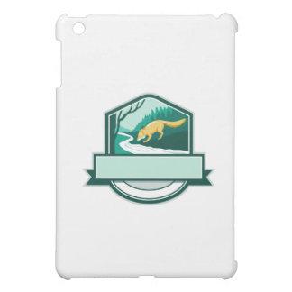 Fox Drinking River Creek Woods Crest Woodcut iPad Mini Case
