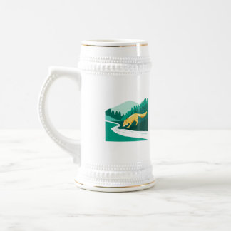 Fox Drinking River Creek Woods Square Retro Beer Stein