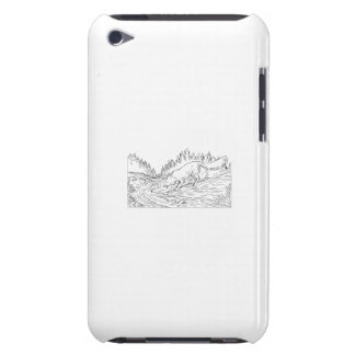 Fox Drinking River Woods Black and White Drawing Barely There iPod Cover