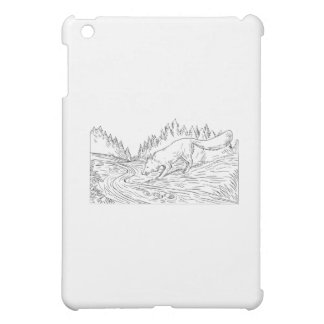 Fox Drinking River Woods Black and White Drawing iPad Mini Cover