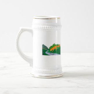 Fox Drinking River Woods Creek Drawing Beer Stein