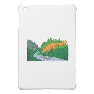 Fox Drinking River Woods Creek Drawing Cover For The iPad Mini