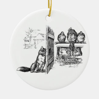Fox Eavesdropping on Chickens Ceramic Ornament
