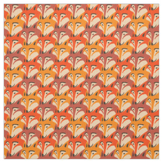 Fox face dogtooth pattern fabric