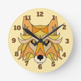 Fox Face Round Clock