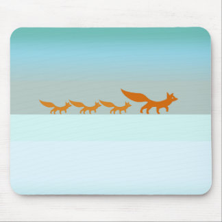 Fox Family in the Snow Mousepad