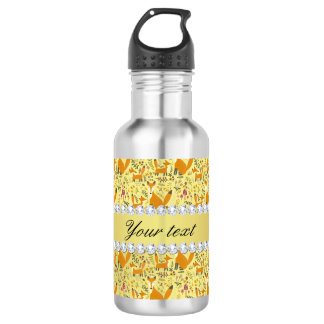 Fox Faux Gold Foil Bling Diamonds 532 Ml Water Bottle