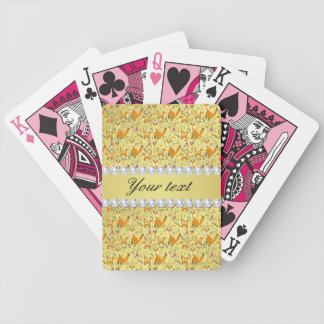 Fox Faux Gold Foil Bling Diamonds Bicycle Playing Cards