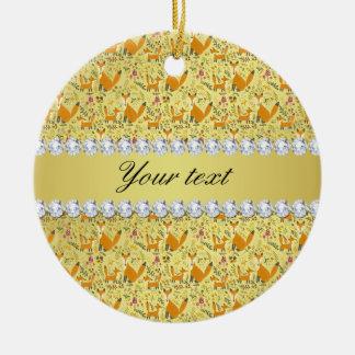 Fox Faux Gold Foil Bling Diamonds Ceramic Ornament