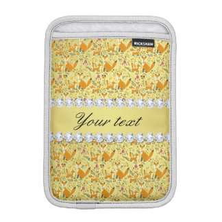 Fox Faux Gold Foil Bling Diamonds iPad Mini Sleeve