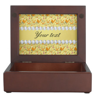 Fox Faux Gold Foil Bling Diamonds Keepsake Box