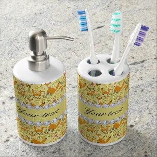 Fox Faux Gold Foil Bling Diamonds Toothbrush Holder