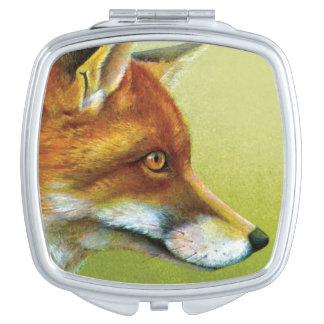 Fox fine art painting mirror compact makeup mirror
