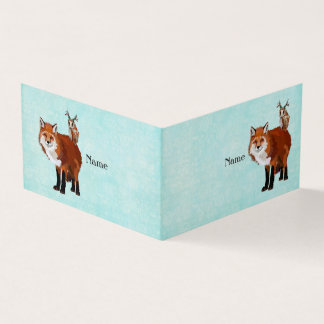 FOX & FLORAL  ANTLER OWL BUSINESS CARD