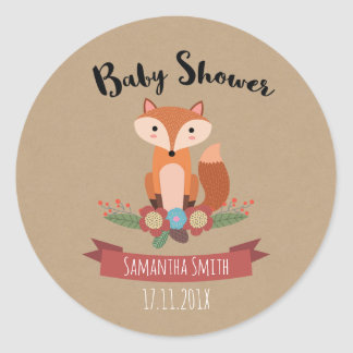 Fox Floral Baby Shower Favour Sticker