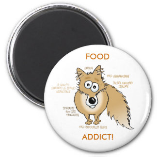 fox, FOOD ADDICT! 6 Cm Round Magnet