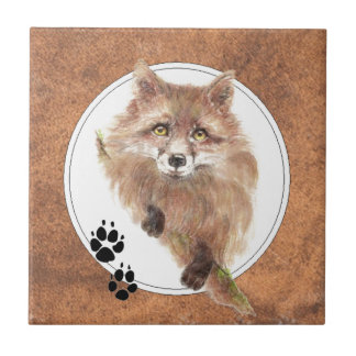 Fox, Foxes,  Animal Tracks, Nature Small Square Tile