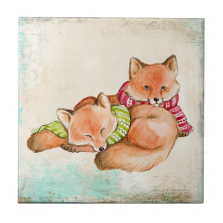 FOX GIFTS - ADORABLE CUSTOMIZABLE FOXES CERAMIC TILE