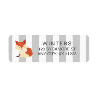 Fox Gray Stripe baby shower postage stamp Return Address Label