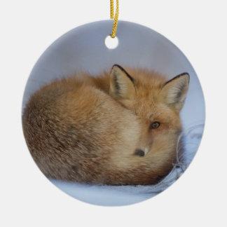 fox hanging ornament, foxy decor ceramic ornament