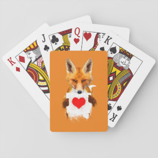 Fox holding a heart playing cards