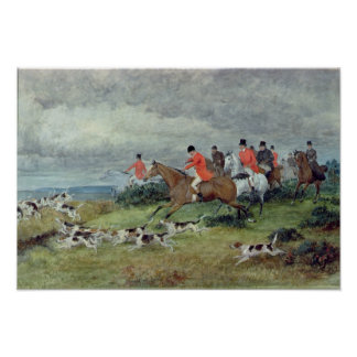 Fox Hunting in Surrey, 19th century Poster