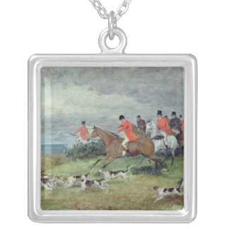 Fox Hunting in Surrey, 19th century Silver Plated Necklace
