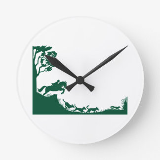 Fox Hunting Silhouette Round Clock