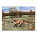 Fox in a Pumpkin Patch Art Greeting Card